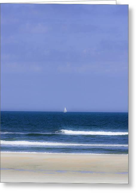 Little Sailboat On Calm Sea Greeting Card