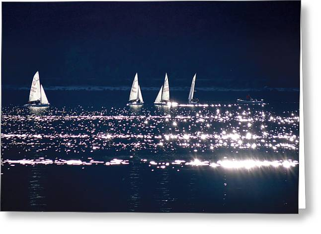 Little Sailing Boats Greeting Card by Lana Cuk