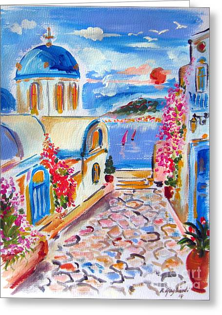Little Santorini Alley Greeting Card