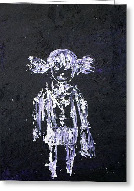Little School Girl With Schoolbag - Oil Portrait Greeting Card