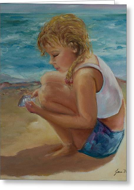 Little Shell Collector Greeting Card by Jane Woodward