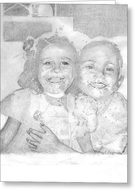 Little Sister Greeting Card by Rebecca Christine Cardenas