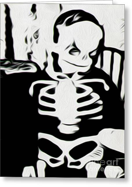 Little Skeleton Greeting Card by Gregory Dyer