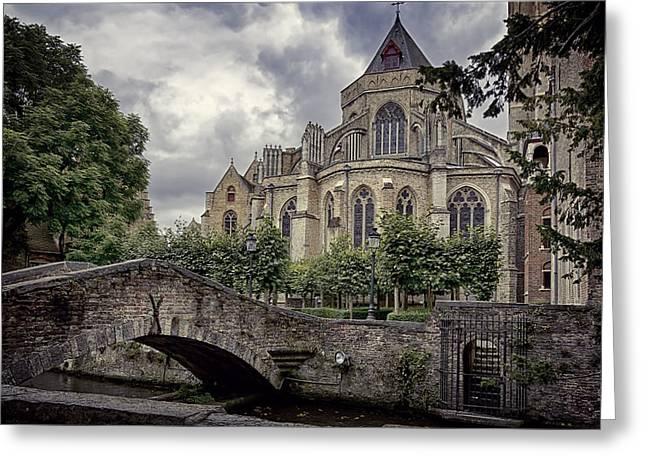 Little Stone Bridge By The Church Greeting Card by Joan Carroll