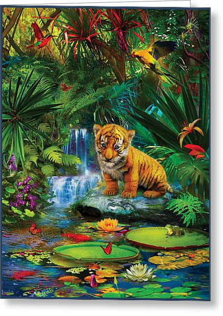 Greeting Card featuring the drawing Little Tiger by Jan Patrik Krasny