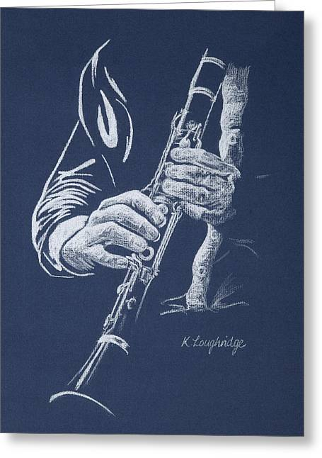 Little Trumpet Clarinet Greeting Card by Karen  Loughridge KLArt