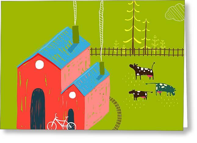 Little Village House Rural Landscape Greeting Card