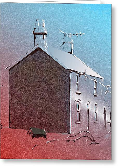 Greeting Card featuring the digital art Little Welsh House by Gillian Owen