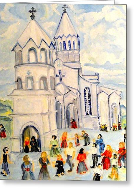 Little White Church Ghazanchetsots Cathedral Karabagh Armenia Greeting Card by Helena Bebirian