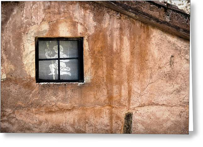 Little Window With Net Curtain On An Old House Greeting Card by RicardMN Photography