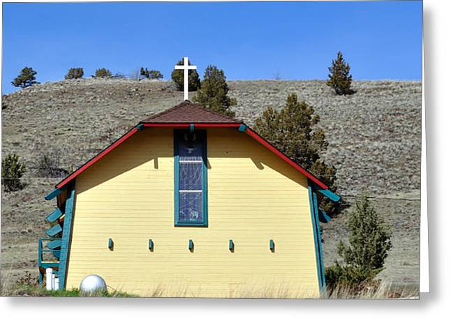 Little Yellow Church Greeting Card by Heather L Wright