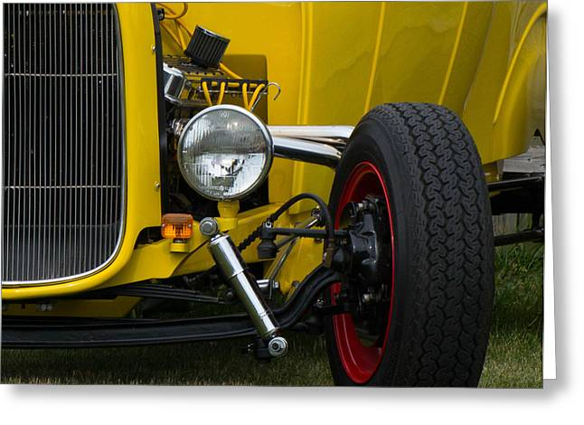 Little Yellow Coupe In Flushing Michigan Greeting Card