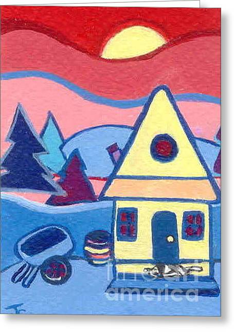 Greeting Card featuring the painting Little Yellow Farmhouse by Joyce Gebauer