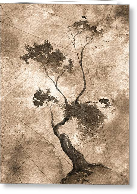 Little Zen Tree 873 Altered Greeting Card by Sean Seal