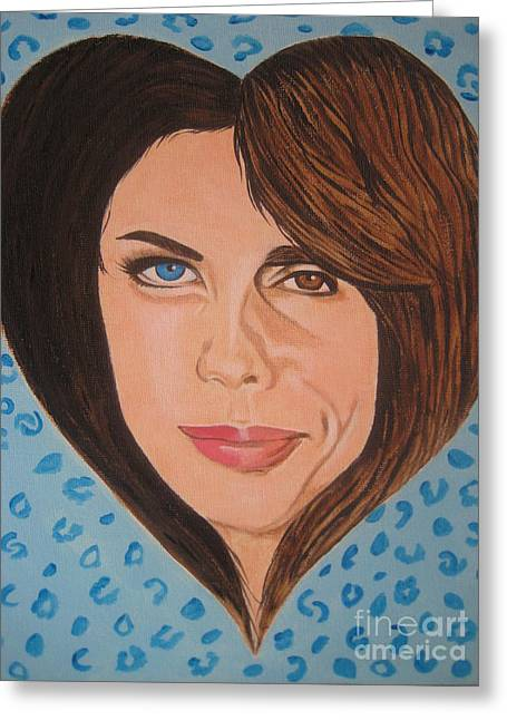 Liv And Steven Tyler Painting Greeting Card by Jeepee Aero