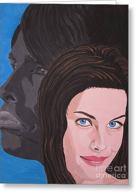 Liv Tyler With Silhouet Steven Tyler Greeting Card by Jeepee Aero