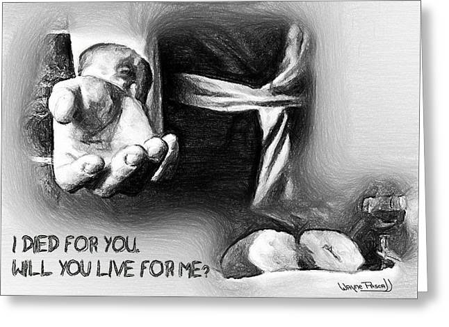Greeting Card featuring the drawing Live For Me by Wayne Pascall
