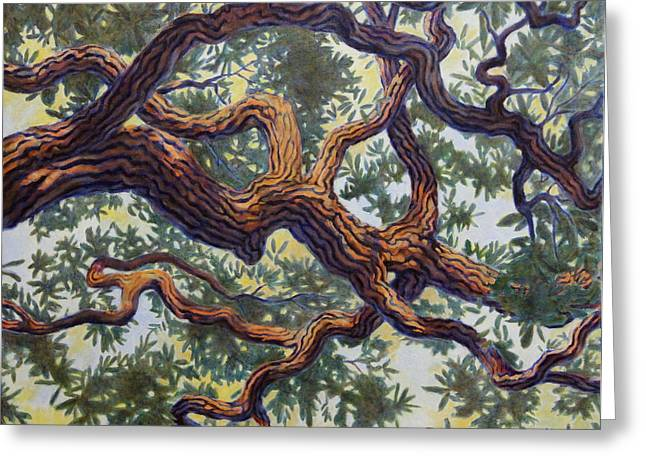 Greeting Card featuring the painting Live Oak by Andrew Danielsen