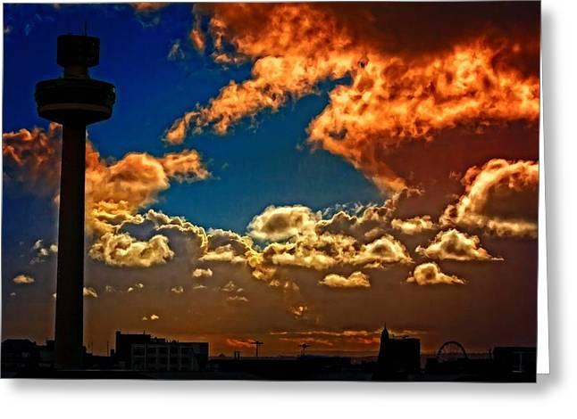 Liverpool Skyline In Silhouette Against A Stormy Sky Greeting Card