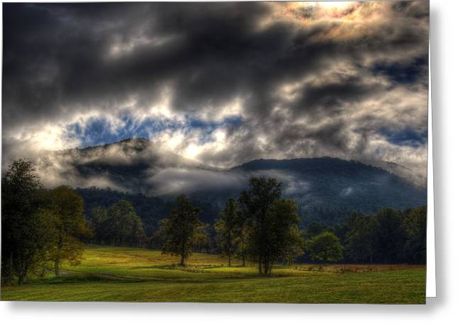 Living In The Clouds Of Western North Carolina Greeting Card by Greg and Chrystal Mimbs