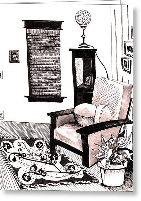 Living Room Greeting Card by Michele Fritz