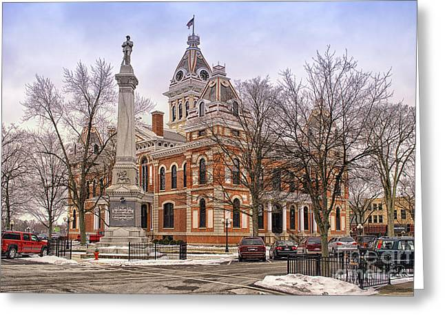 Livingston County Courthouse 06 Pontiac Il Greeting Card by Thomas Woolworth