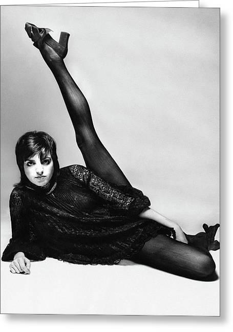 Liza Minnelli With Her Leg Raised Greeting Card by Bert Stern