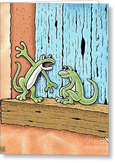 Greeting Card featuring the drawing Lizard Lore by Cristophers Dream Artistry