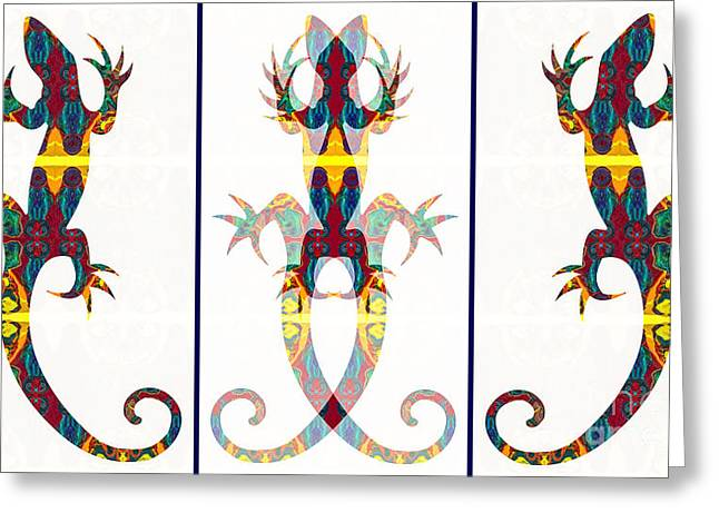 Lizard Love An Abstract Reptilian Adventure Greeting Card by Omaste Witkowski