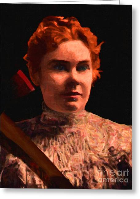 Lizzie Bordon Took An Ax - Painterly - Black Greeting Card by Wingsdomain Art and Photography