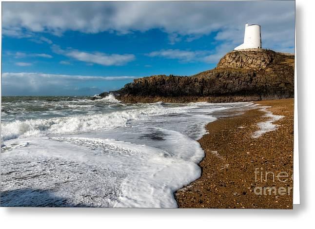 Llanddwyn Island Lighthouse Greeting Card by Adrian Evans
