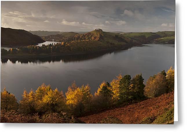 Llyn Clywedog Autumn Panorama Greeting Card by Nigel Forster