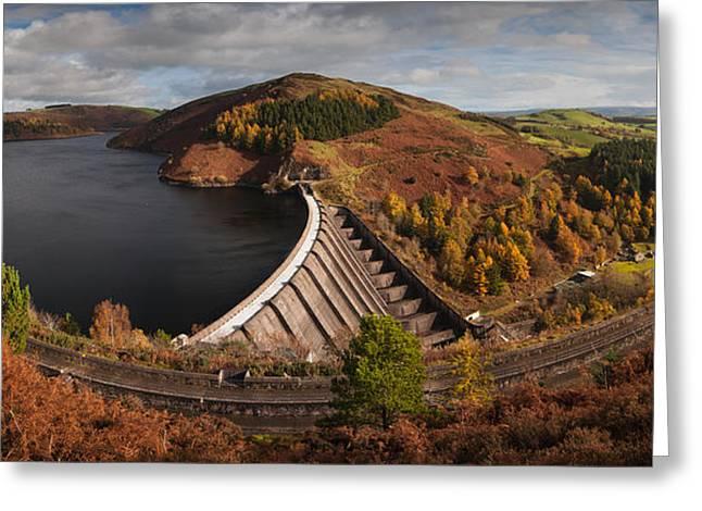 Llyn Clywedog Dam Greeting Card by Nigel Forster