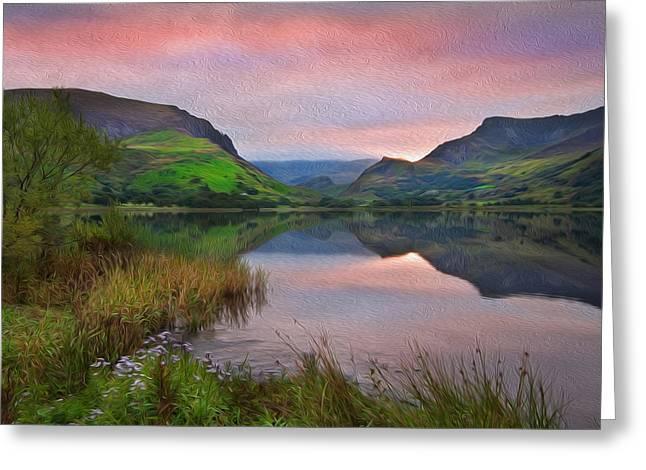 Llyn Nantlle At Sunrise Looking Towards Mist Shrouded Mount Snowdon Digital Painting Greeting Card