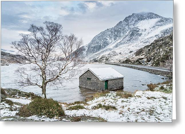 Llyn Ogwen - A Winter's Day Greeting Card by Christine Smart