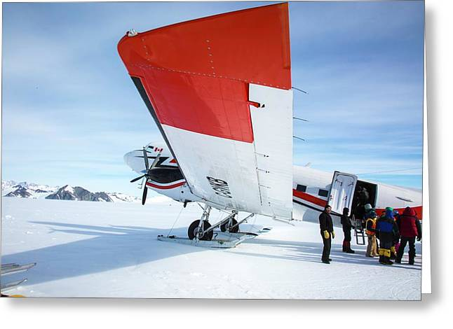 Loading An Aircraft In Antarctica Greeting Card by Peter J. Raymond