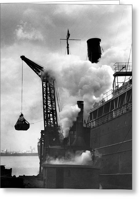Loading Coal On To A Ship Greeting Card