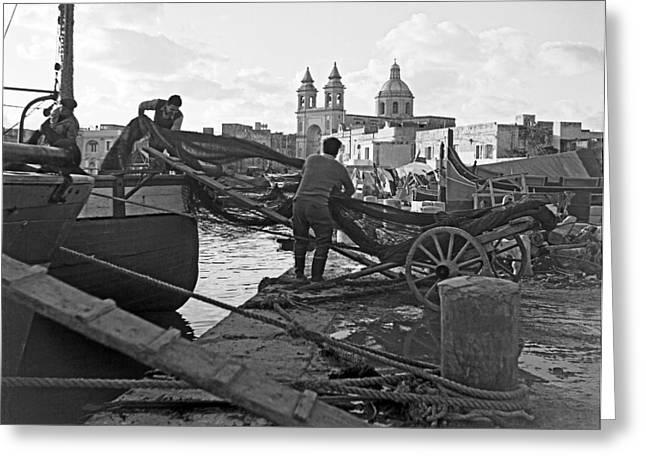Loading Nets In Malta Greeting Card by David Murphy