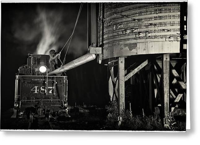 Loading Water At Chama Train Station Greeting Card by Priscilla Burgers