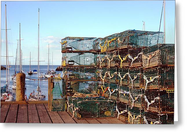 Lobstah Traps Greeting Card by Joann Vitali