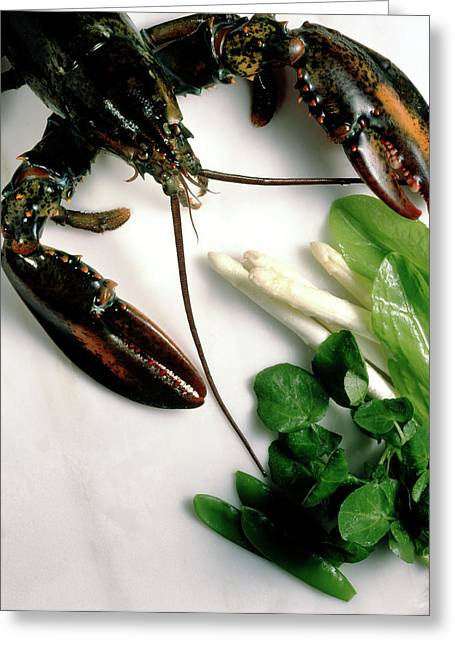 Lobster, Asparagus, Sorrel, Watercress, Mangetout Greeting Card