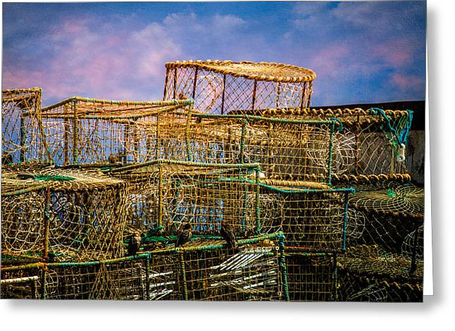 Lobster Baskets And Starlings Greeting Card by Chris Lord