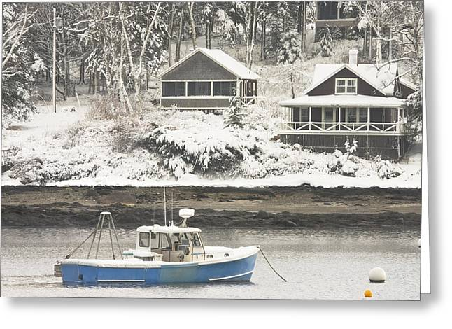 Lobster Boat After Snowstorm In Tenants Harbor Maine Greeting Card