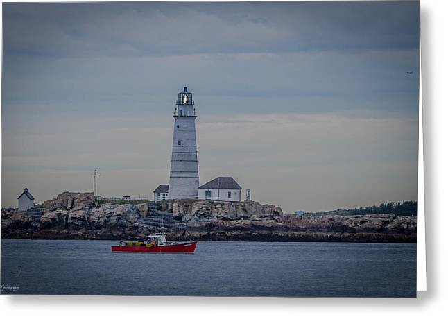 Lobster Boat Passing By Greeting Card