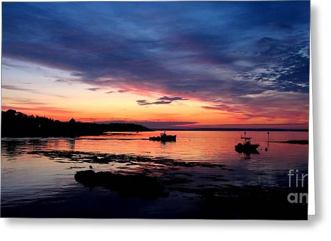Lobster Boat Sunrise 2 Greeting Card by Donnie Freeman