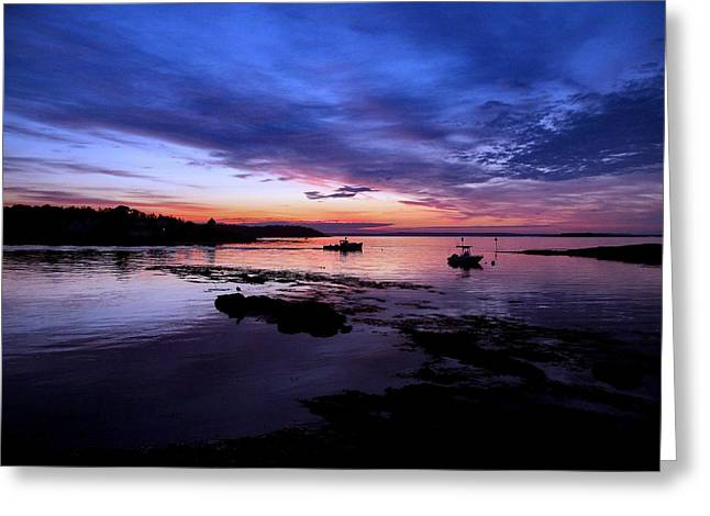 Lobster Boat Sunrise Greeting Card