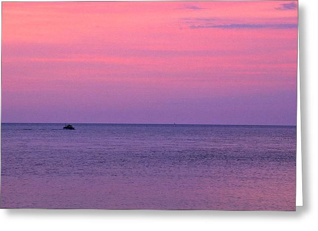 Lobster Boat Under Purple Skies Greeting Card