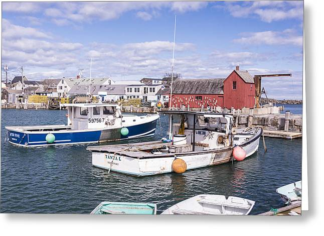 Lobster Boats In Rockport Harbor Greeting Card