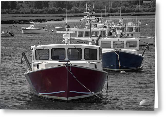 Lobster Boats Selective Color Greeting Card