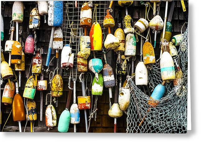 Lobster Buoys And Fishing Net Greeting Card